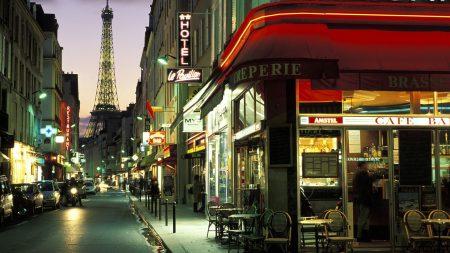 paris, street, evening