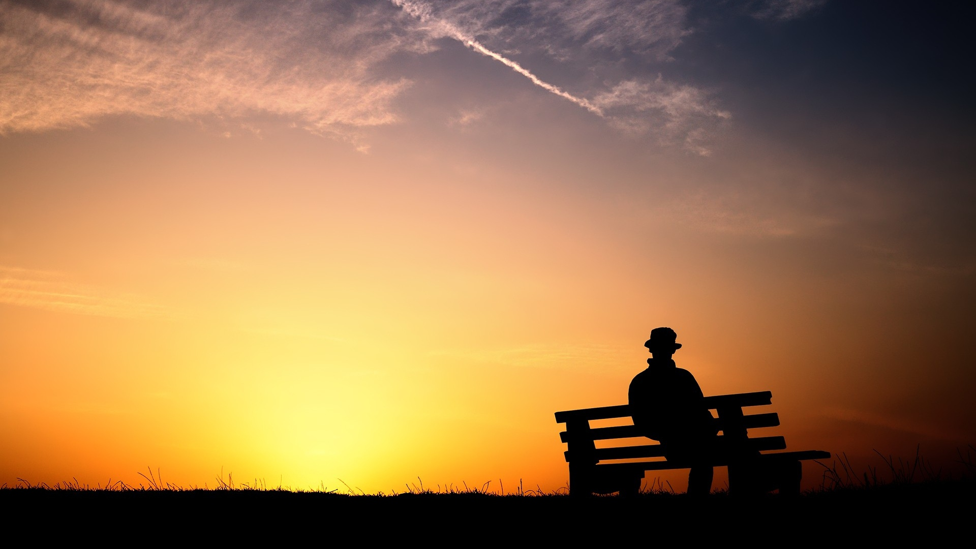 Download Wallpaper 1920x1080 person, silhouette, bench, evening ... for People On Bench Silhouette  183qdu
