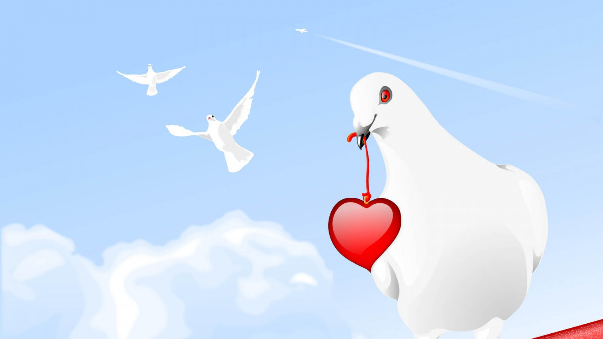 download wallpaper 1920x1080 pigeon, birds, hearts, paint full hd