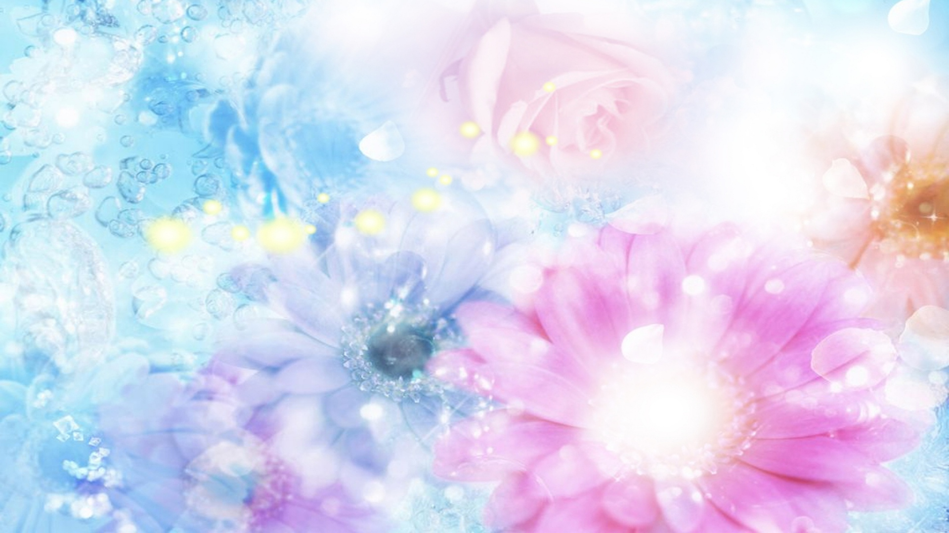 Download Wallpaper 1920x1080 Pink Blue Flowers Blurred
