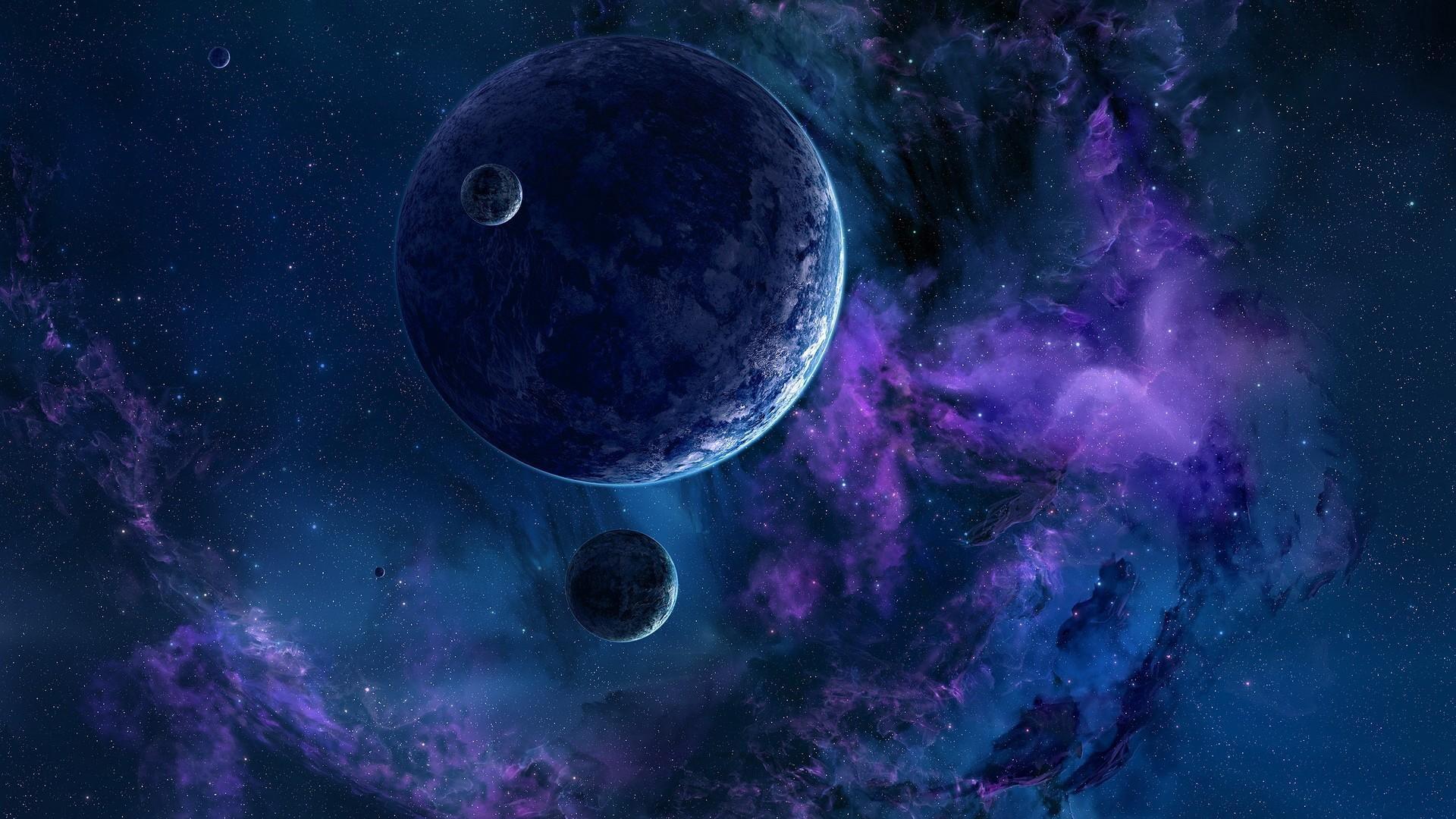 Download wallpaper 1920x1080 planets stars nebula - 1080p nebula wallpaper ...