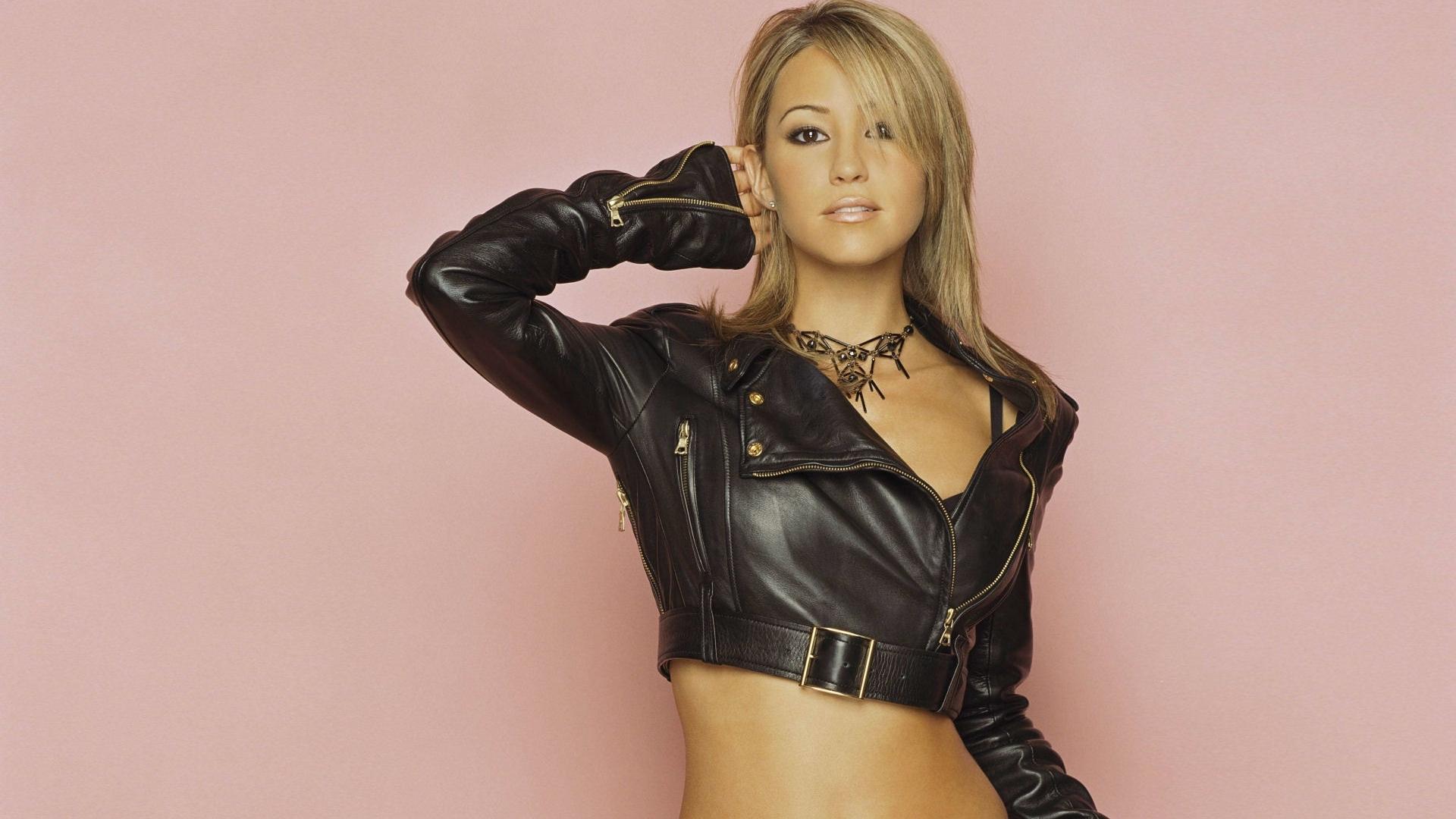 Leather jacket photoshoot - Rachel Stevens Blonde Leather Jacket