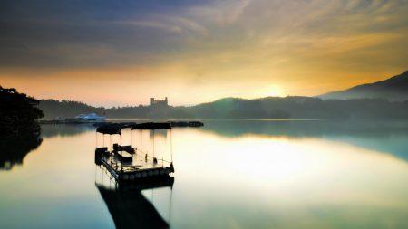raft, morning, lake