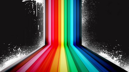 rainbow, black background, vector