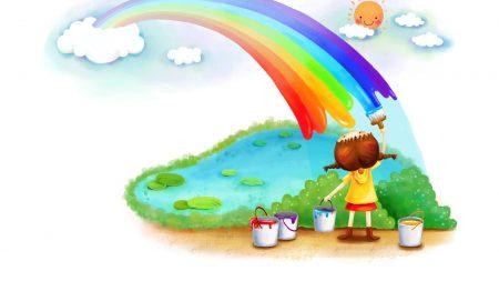 rainbow, girl, paints
