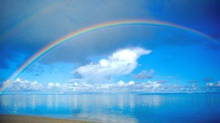 rainbow, sea, sky