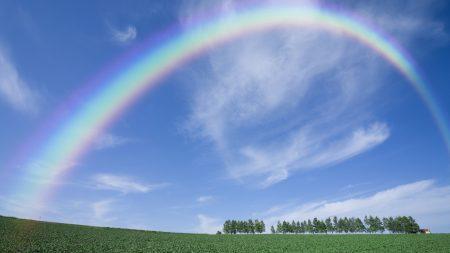 rainbow, sky, clear