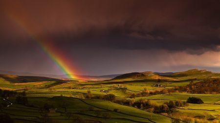 rainbow, sky, hills