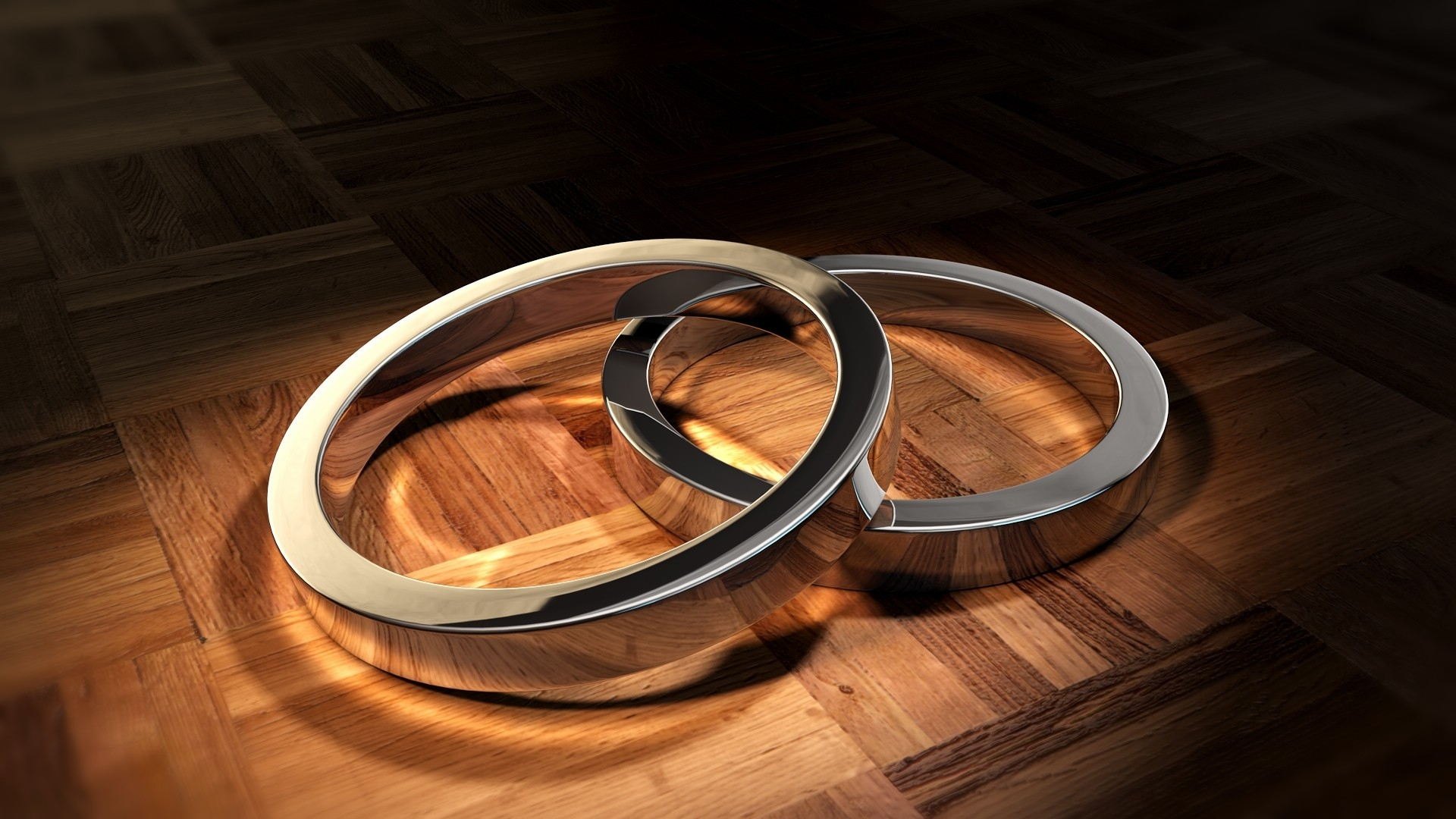 Download Wallpaper 1920x1080 Rings Form Couple Metal Surface