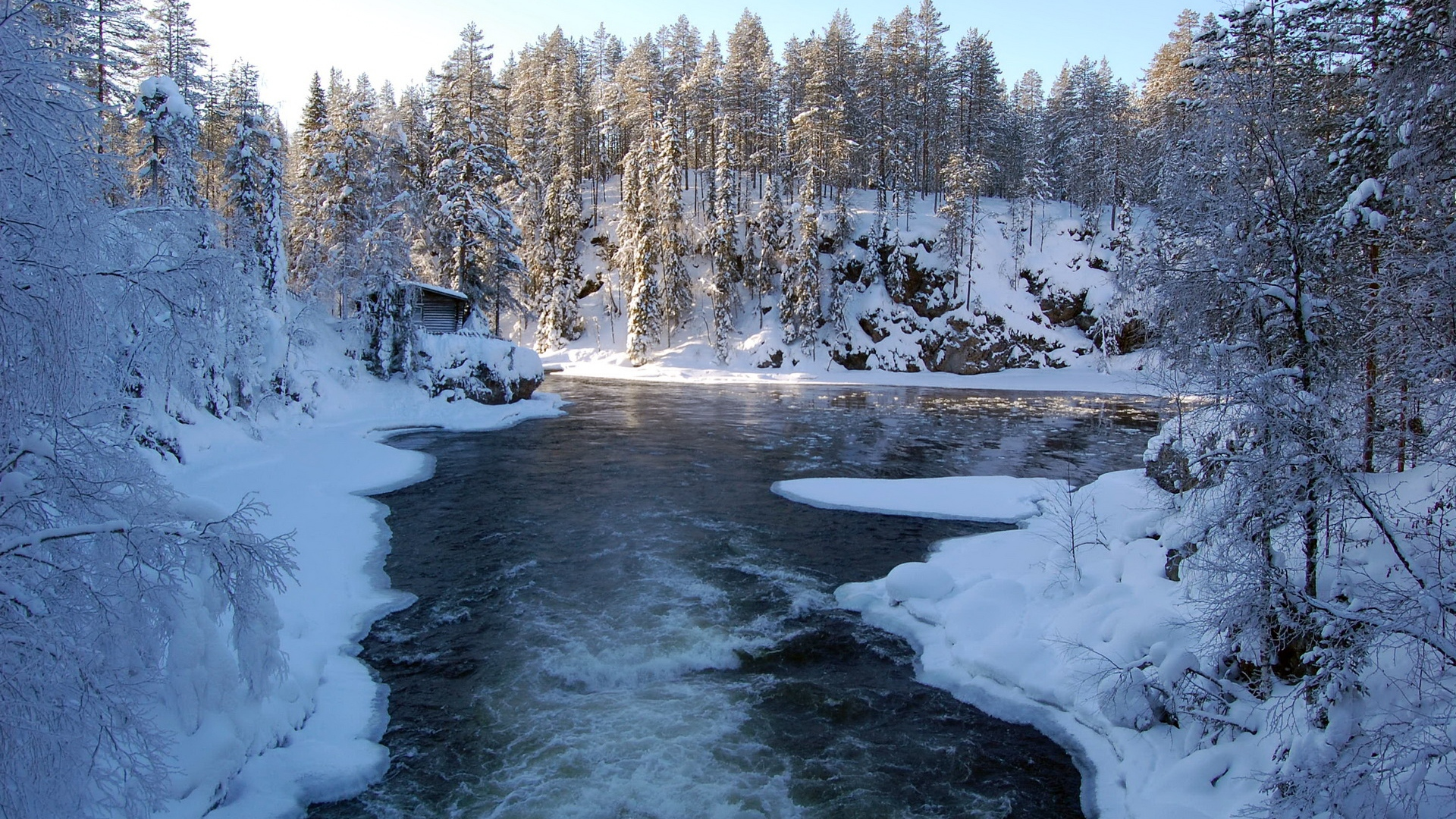 Download Wallpaper 1920x1080 River, Finland, Ice, Snow