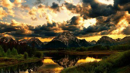 river, grass, sky