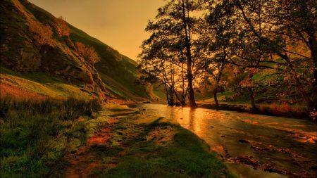 river, lighting, trees