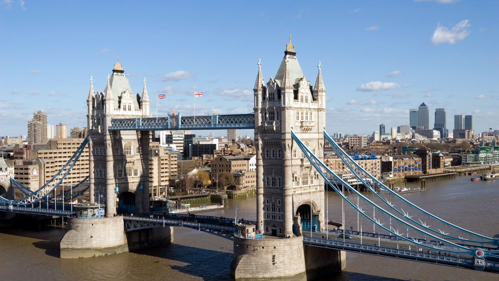 Download Wallpaper 1920x1080 River London Bridge Day Top View Full HD 1080p Background