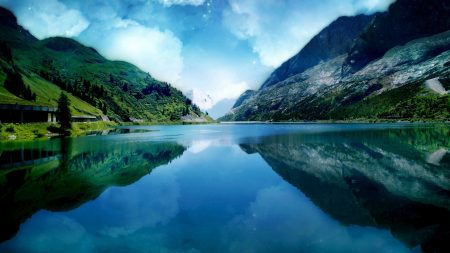 river, sky, mountains