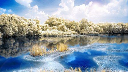 river, wood, landscape