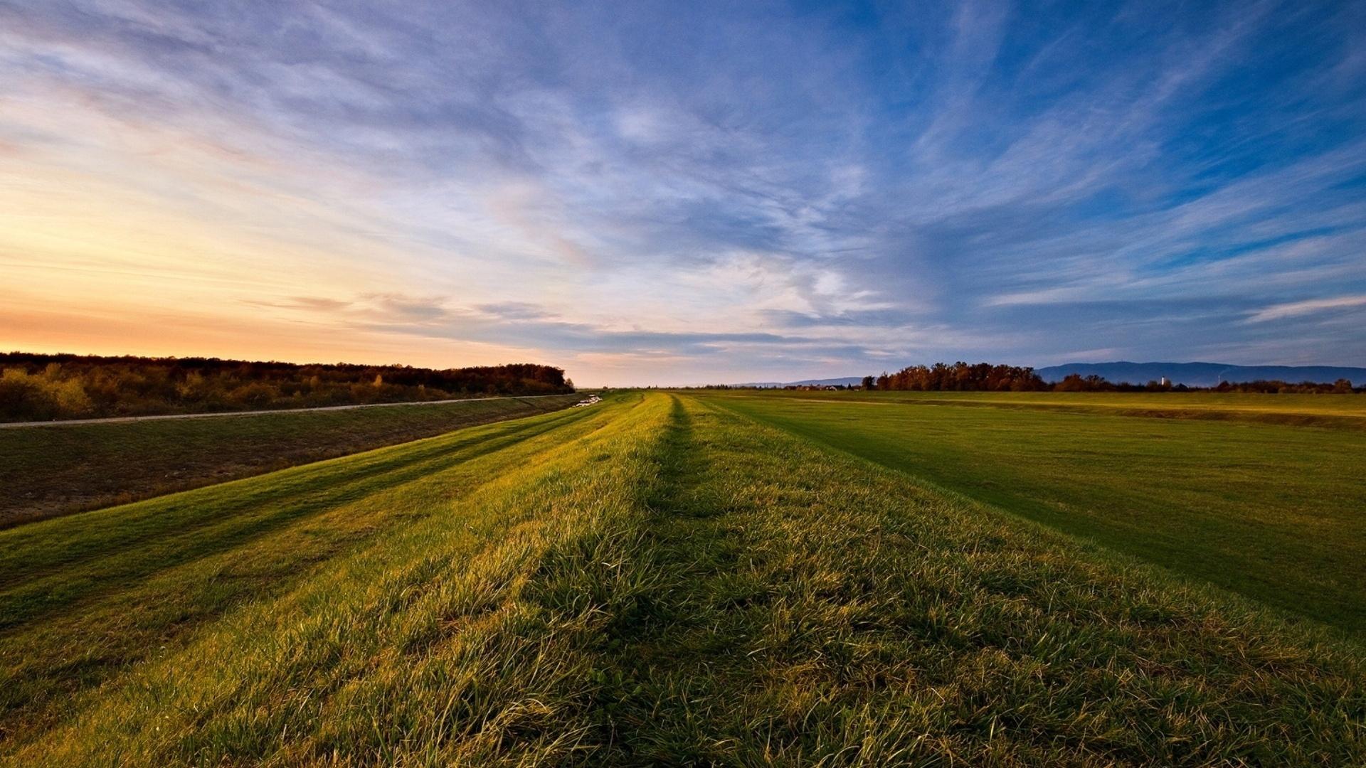 Download wallpaper 1920x1080 road roadside grass field - Open field wallpaper ...