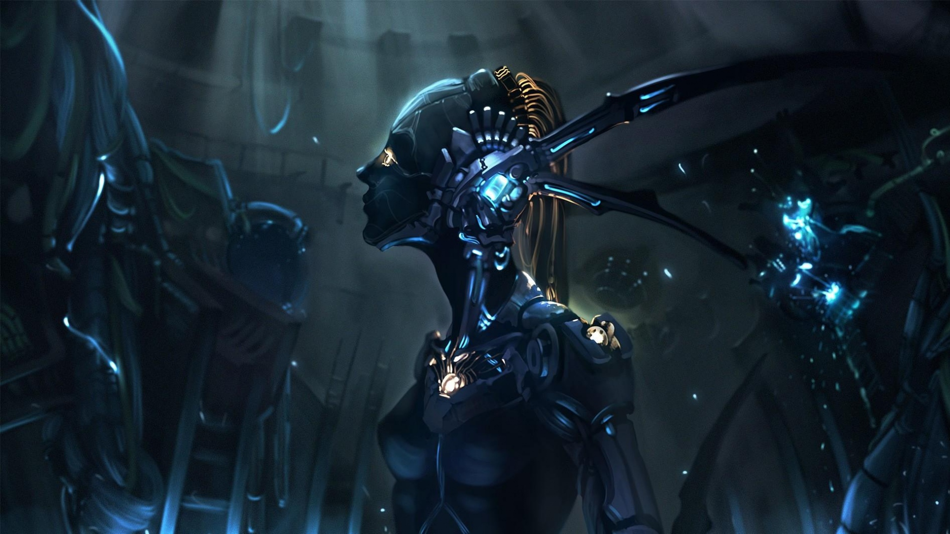 download wallpaper 1920x1080 robot, cyborg, mechanism, girl full hd