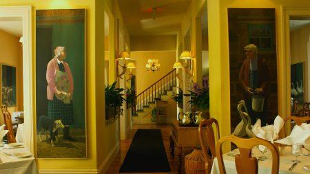 room, table, paintings