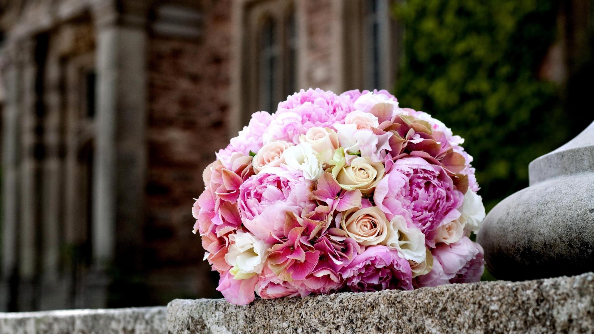 Roses Peonies Flower Ball Tenderness Marble 45243 1920x1080