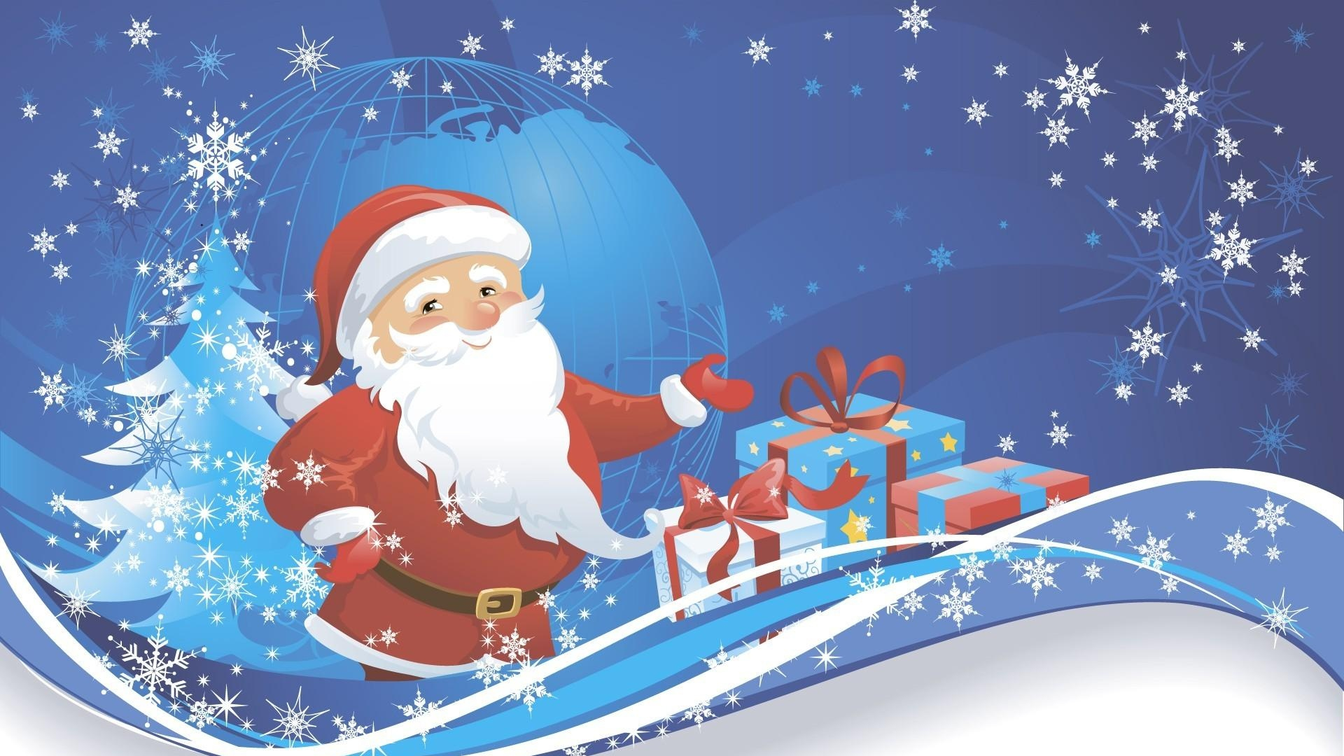 santa claus presents tree - Santa Claus With Presents