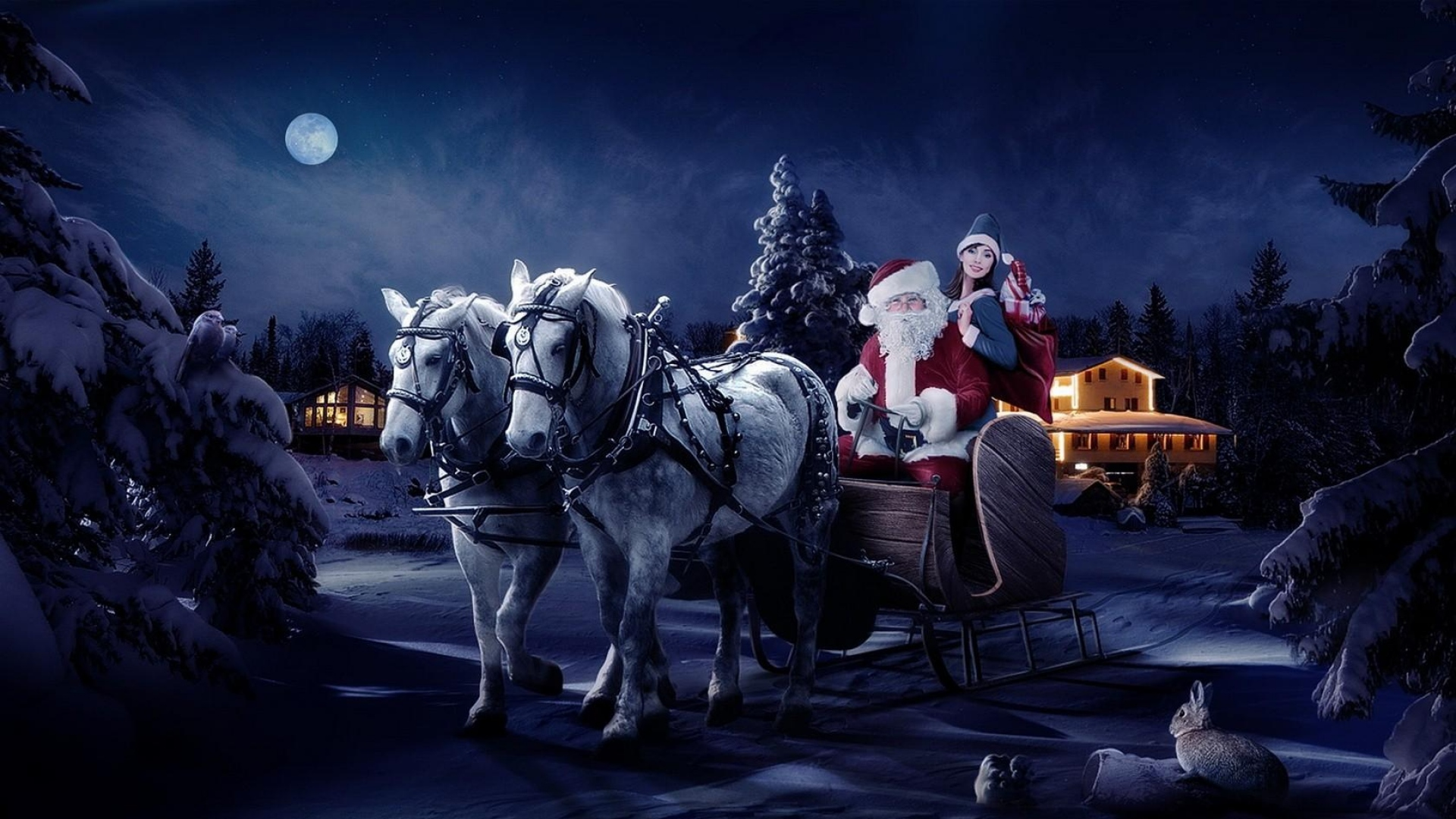 download wallpaper 1920x1080 santa claus reindeer sleigh gifts