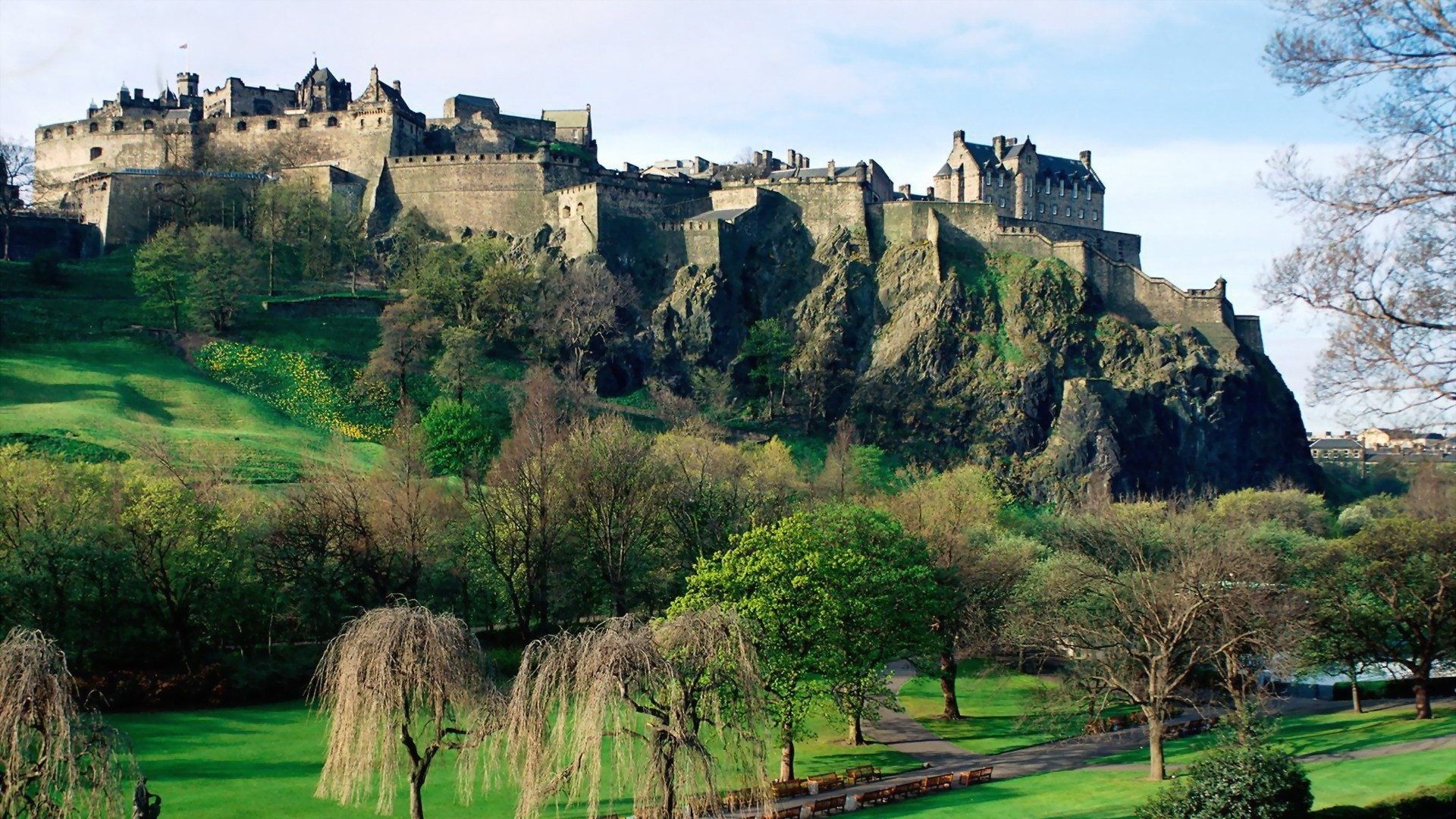 download wallpaper 1920x1080 scotland, castle, hills, grass, nature