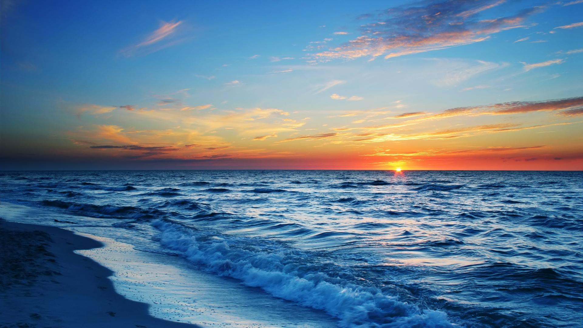 download wallpaper 1920x1080 sea, beach, evening, sun, sunset full