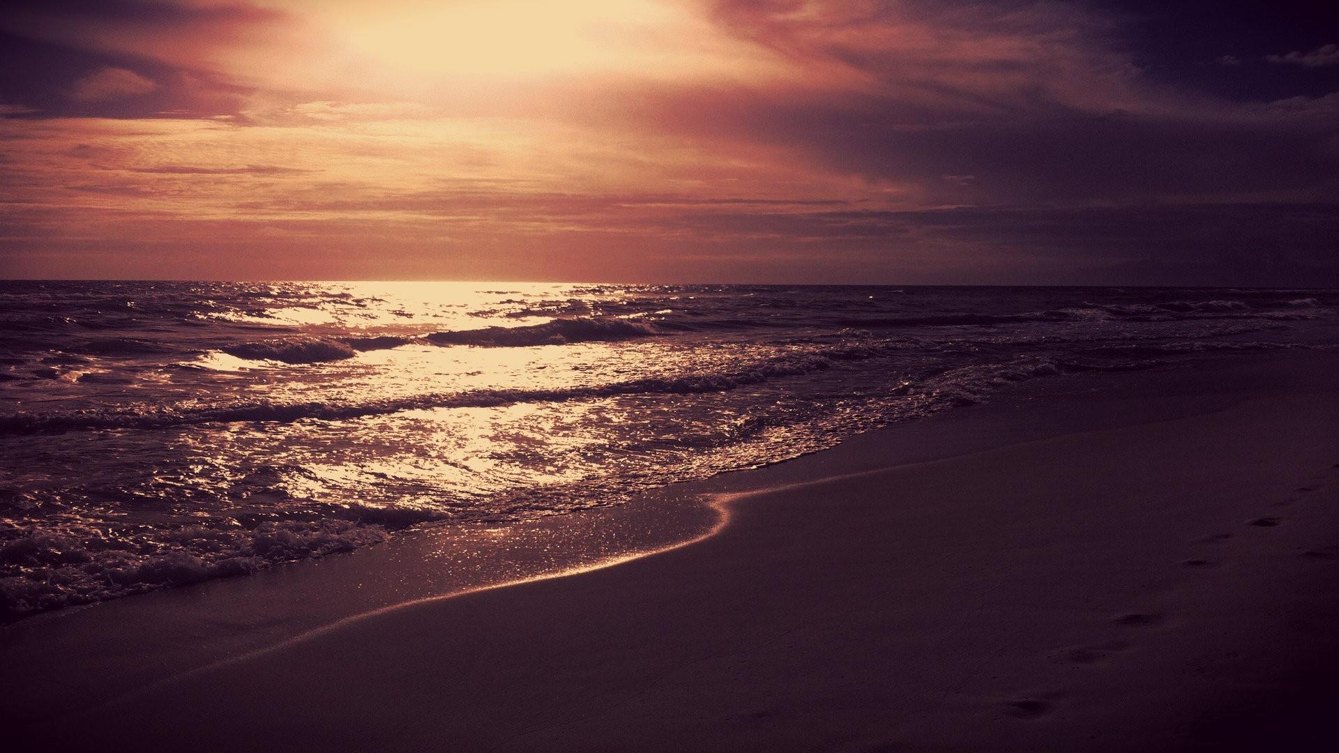 Hd wallpaper widescreen 1080p nature - Download Wallpaper 1920x1080 Sea Night Sunset Light