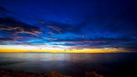 sea, river, sunset