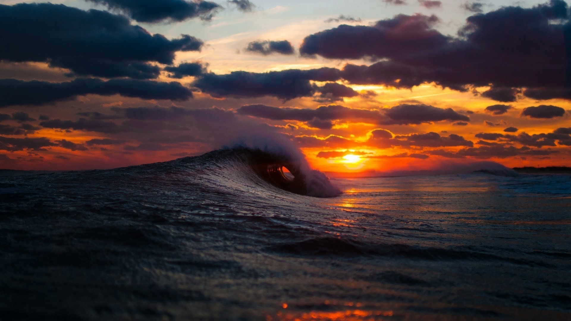 Download Wallpaper 1920x1080 Sea Surf Wave Sunset Full HD 1080p