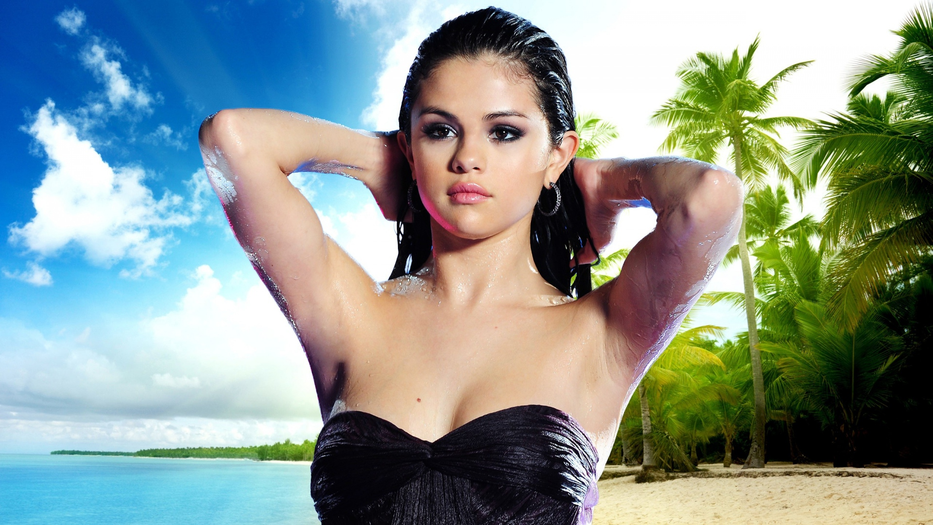 download wallpaper 1920x1080 selena gomez, brunette, beach, hair