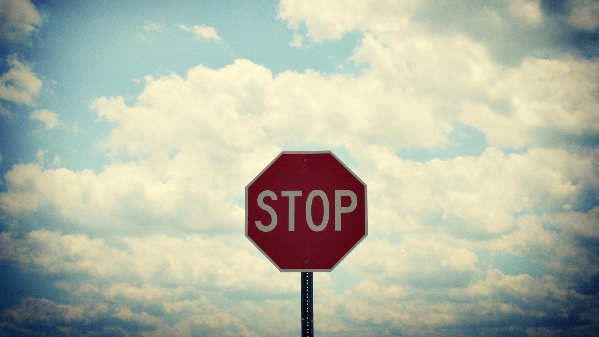 Download Wallpaper 1920x1080 Sign, Road, Stop, Sky, Clouds
