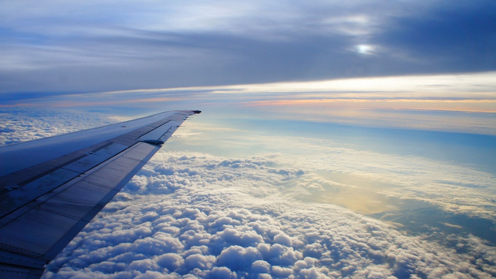Download wallpaper 1920x1080 sky altitude clouds airplane wing download wallpaper 1920x1080 sky altitude clouds airplane wing flying soaring earth full hd 1080p hd background voltagebd Gallery