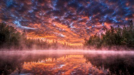 sky, lake, fog