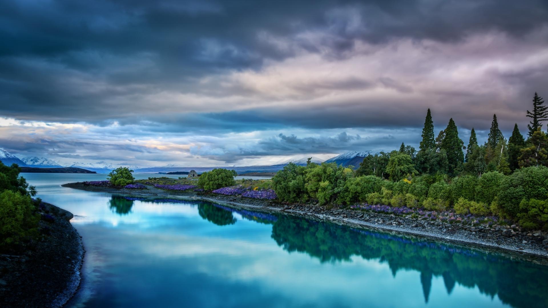 Download Wallpaper 1920x1080 sky, nature, river, landscape Full HD 1080p HD Background