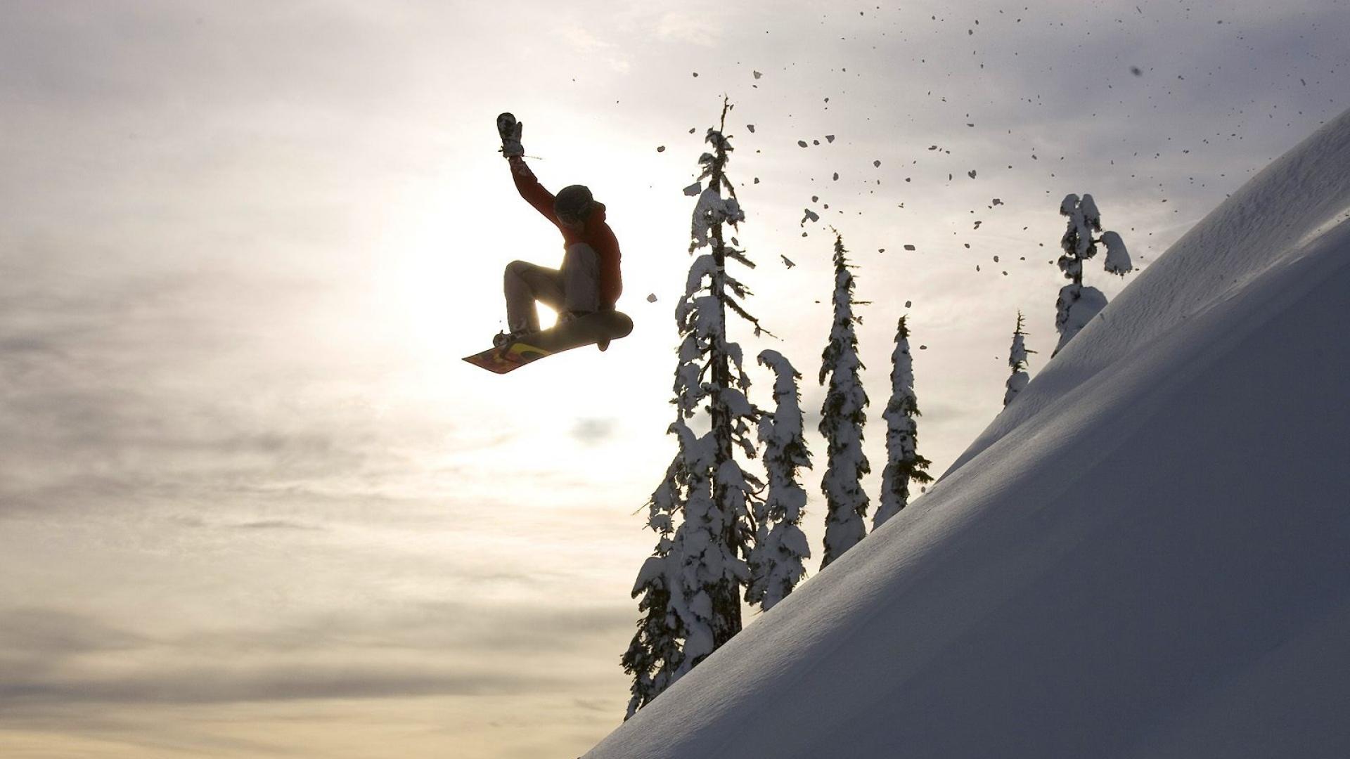 Download wallpaper 1920x1080 snowboard jump descent evening full snowboard jump descent voltagebd Image collections