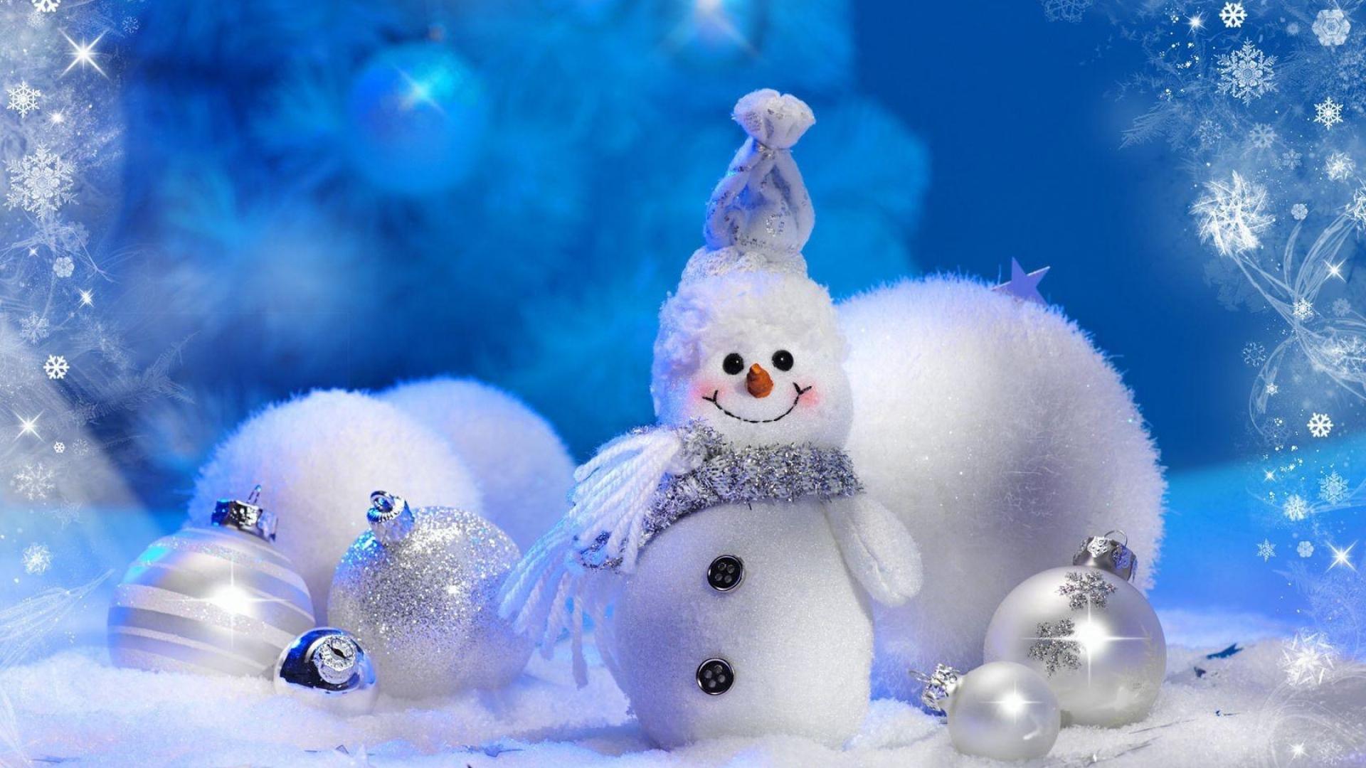 Download Wallpaper 1920x1080 snowman, christmas decorations, smile ...