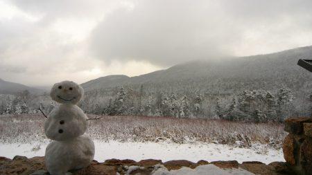 snowman, winter, mountains
