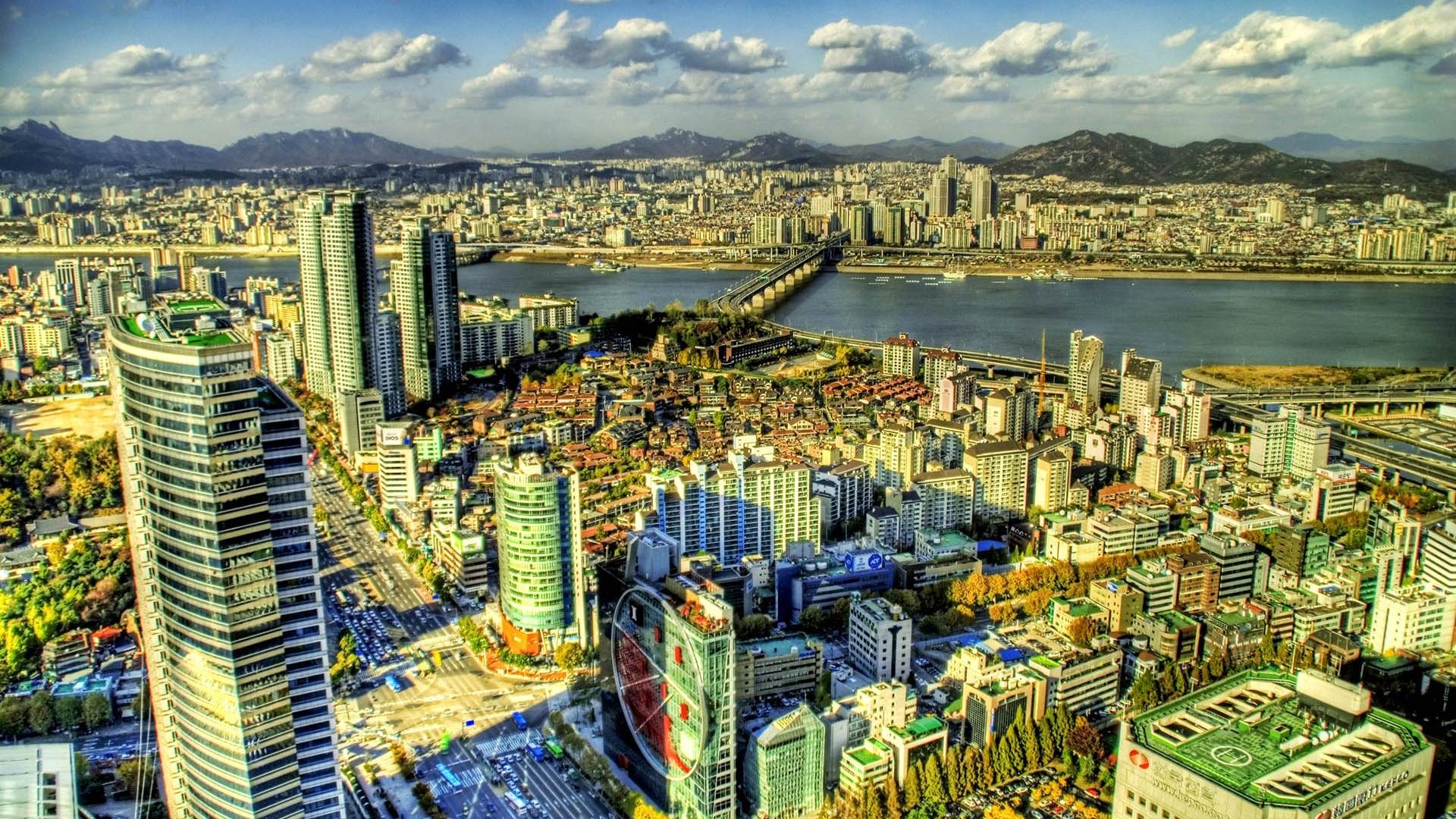 Download Wallpaper 1920x1080 South Korea Skyscrapers Buildings View From Above Hdr Full HD 1080p Background