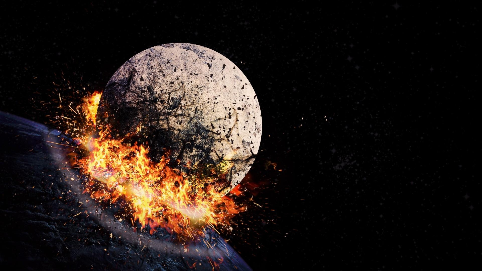 Download wallpaper 1920x1080 space hit explosion blast for Space blast 3d