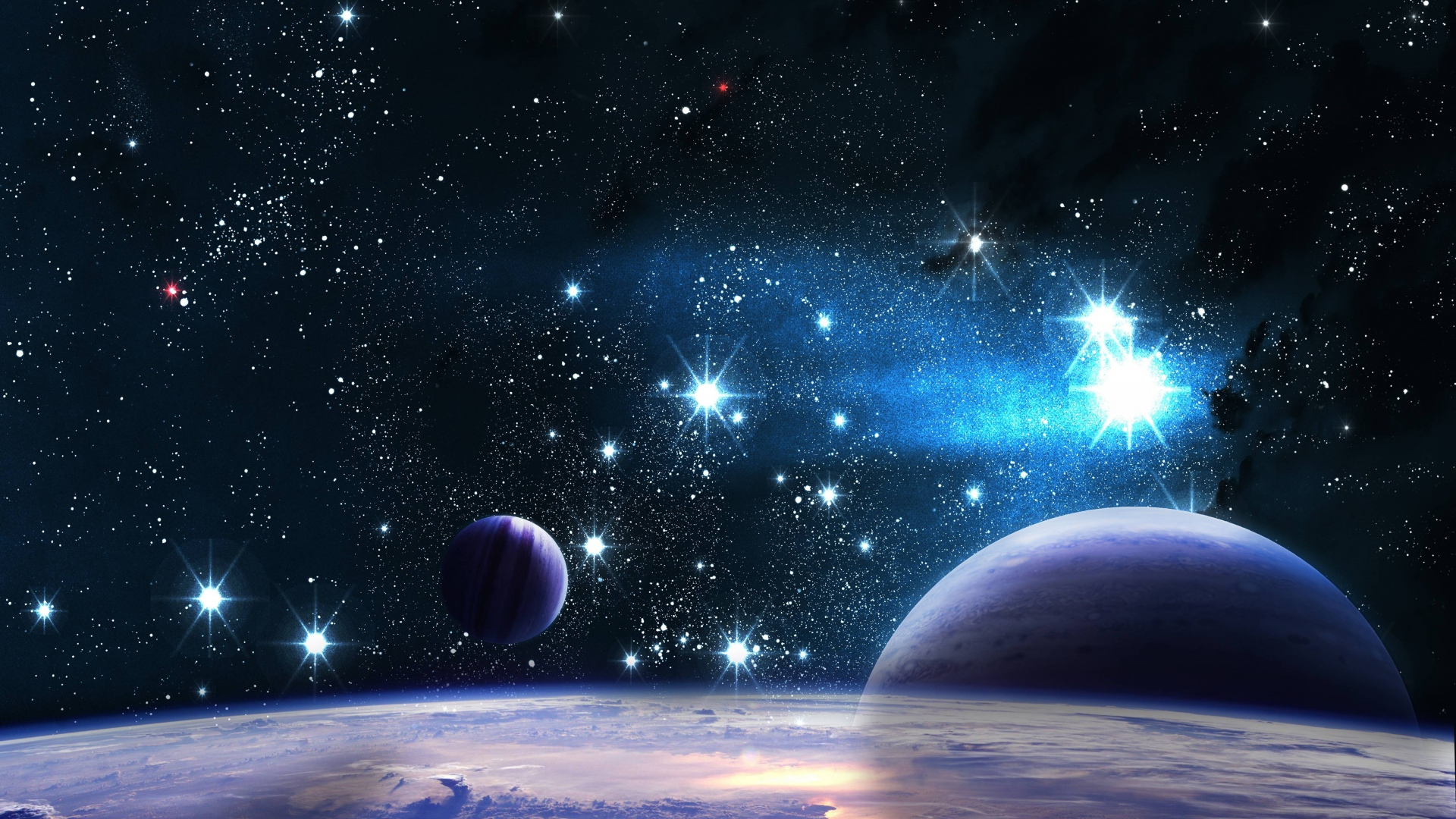 Download Wallpaper 1920x1080 Space Stars Planets Shine Full HD