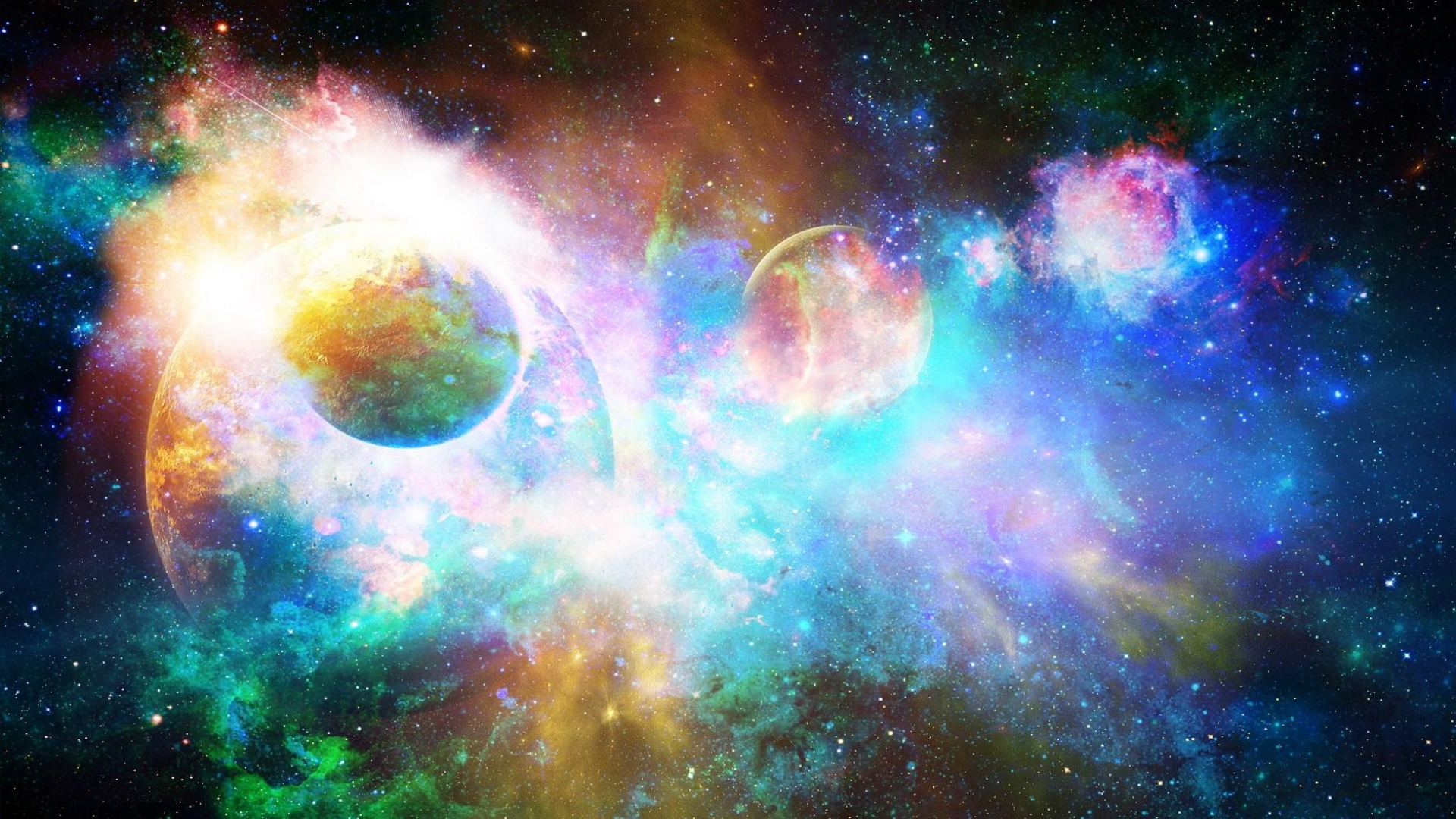 Download Wallpaper 1920x1080 Stars Planets Light Galaxy Universe