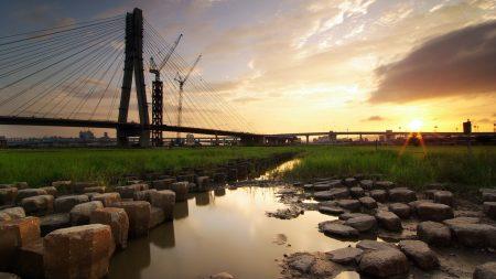 stones, bridge, grass