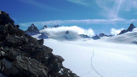 stones, snow, mountains