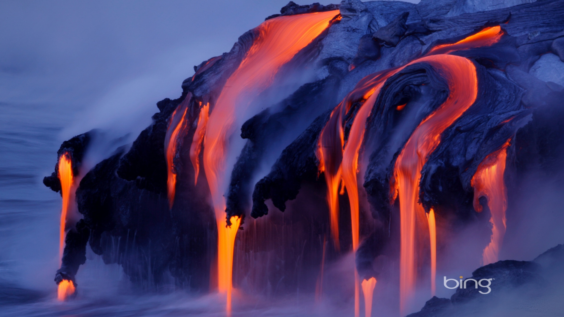 Download Wallpaper 1920x1080 streams, steam, lava, volcano, eruption Full HD 1080p HD Background