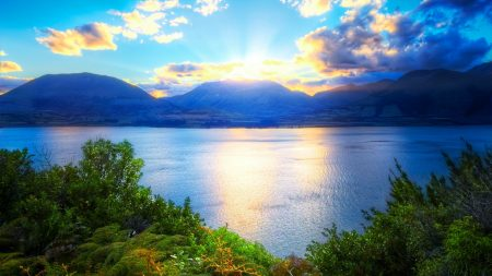 sun, mountains, lake