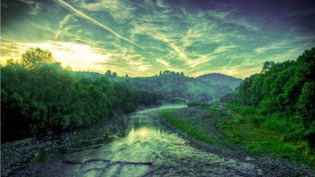 sunset, river, trees