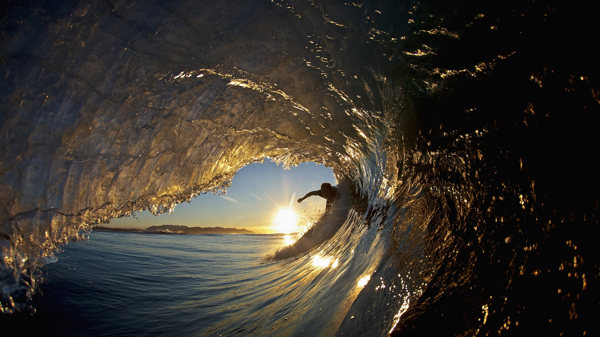 download wallpaper 1920x1080 surfing, wave, guy, silhouette, extreme