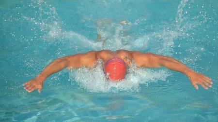 swimming, pool, man