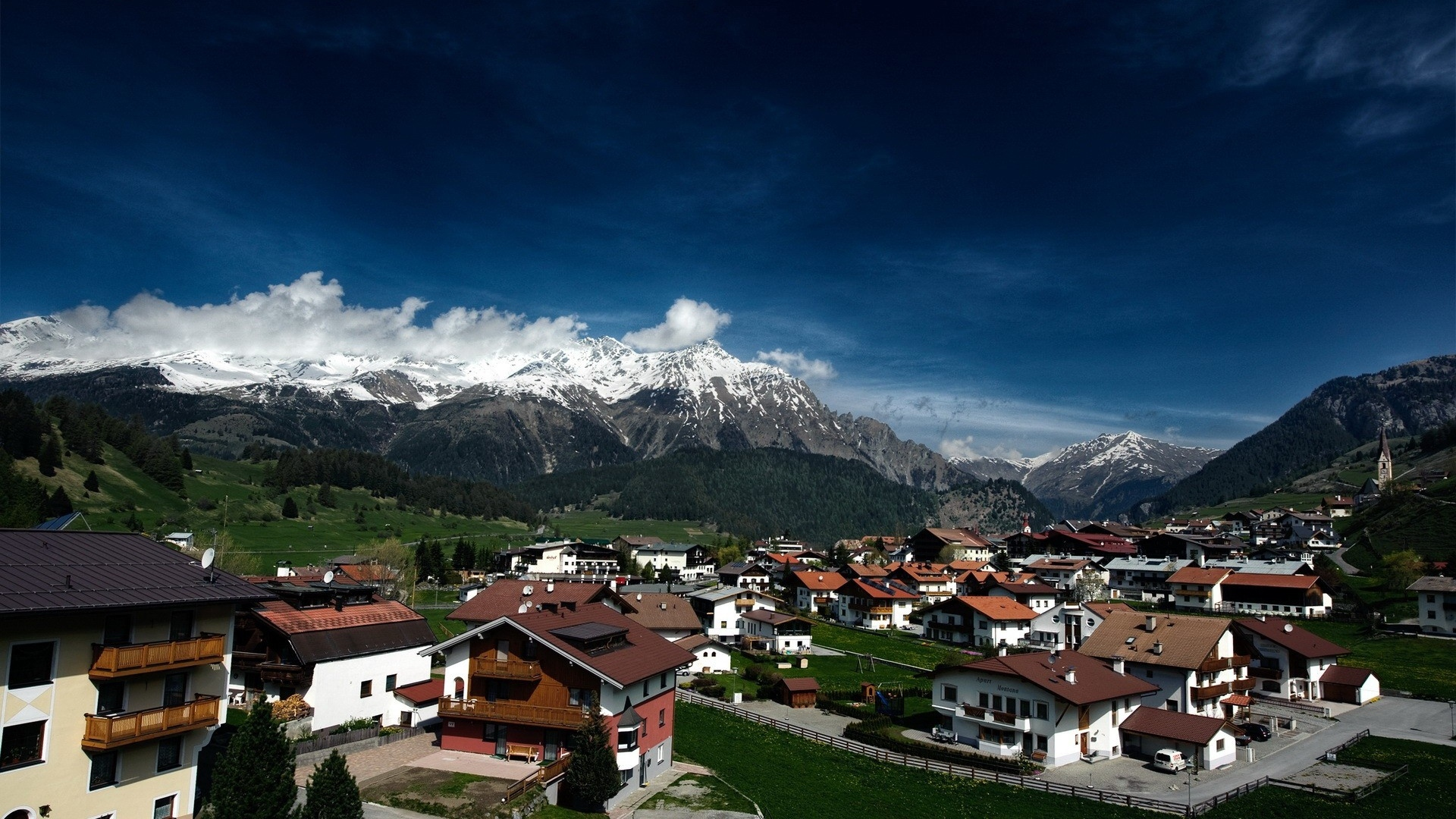 download wallpaper 1920x1080 switzerland, houses, mountains